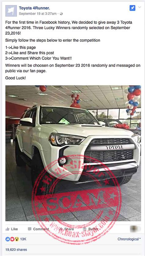 Facebook Giveaway Scams - toyota 4runner facebook giveaway scam hoax slayer