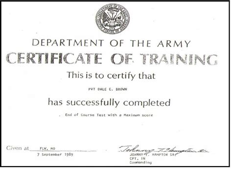 army certificate of completion template pin avoidance course certificate image search