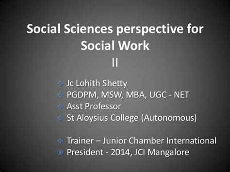Mba In Social Work by Sspsw 2