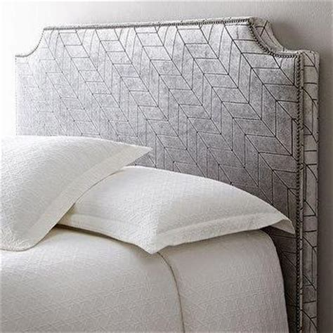 headboard pattern patterned nailhead upholstered grey headboard