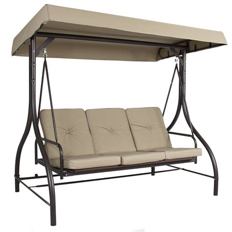 patio swing converts to bed outdoor 3 person patio porch swing hammock bench canopy