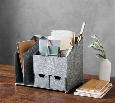 home office desk organizer brokers galvanized multi desk organizer pottery barn