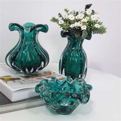vaso murano vaso de murano trouxinha verde esmeralda cristal s 227 o