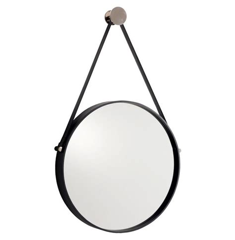 Expedition Iron Round Mirror With Leather Strap Round Bathroom Mirror Hangers
