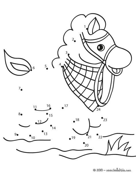Pferd punkte verbinden zum ausmalen - de.hellokids.com
