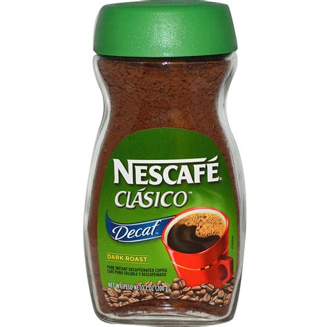 Nescafé, Clasico, Pure Instant Decaffeinated Coffee, Decaf, Dark Roast, 7 oz (200 g)   iHerb.com