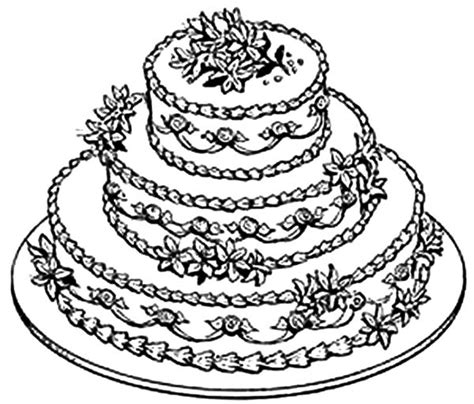 coloring page wedding cake cake coloring pages