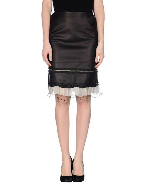 jean paul gaultier knee length skirt in brown lyst