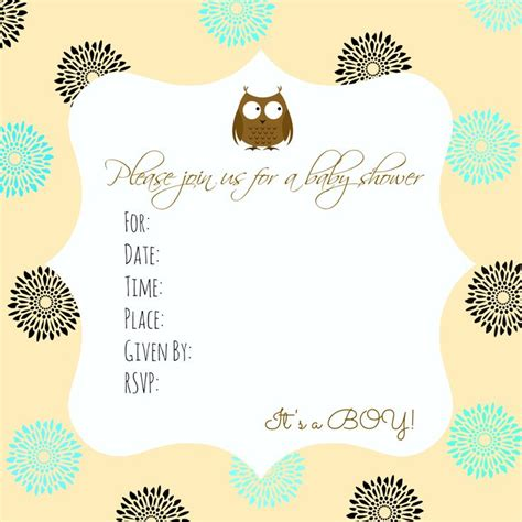 owl themed baby shower invitation template 11 best images about free printable baby shower
