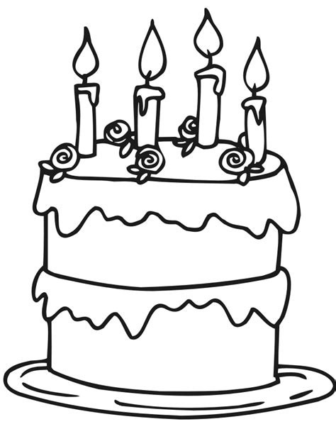 coloring happy birthday cakes candles pages birthday cakes simple birthday cake coloring page