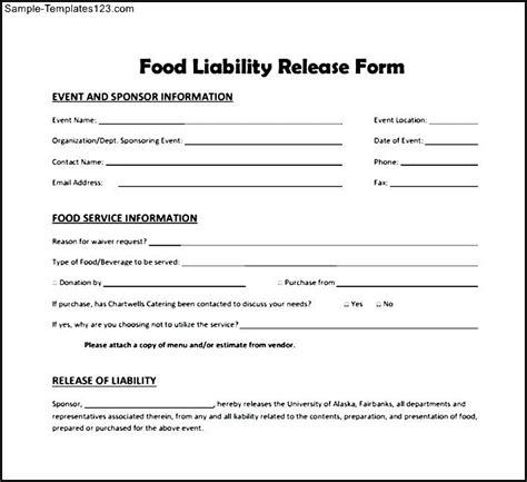 food liability release form sle templates