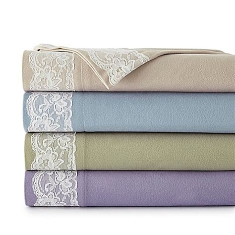 flannel sheets bed bath and beyond micro flannel 174 lace edged sheet set bed bath beyond