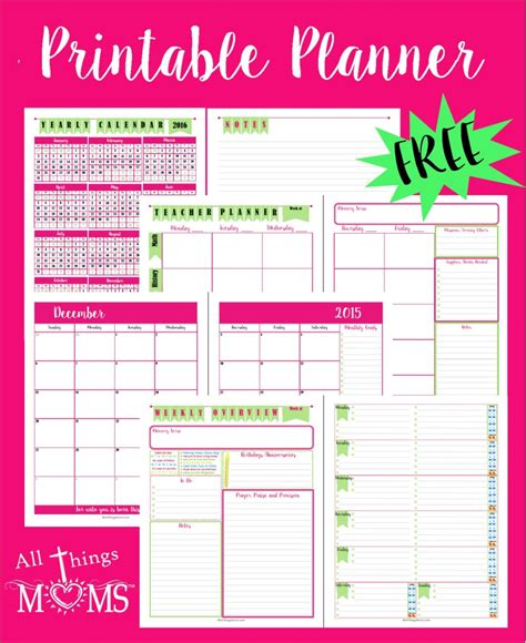 free printable mom planner pages printable planner all things moms