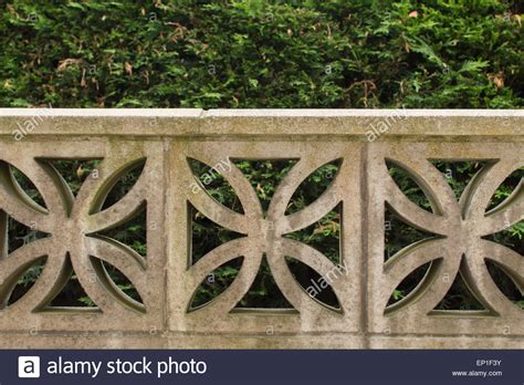 decorative blocks for garden wall garden wall built from decorative concrete blocks stock