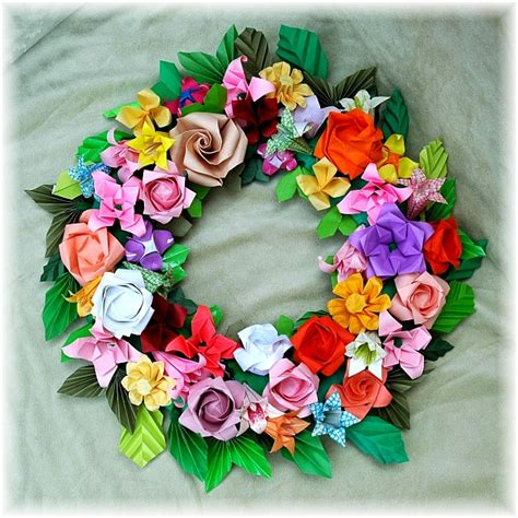 Origami Paper Wreath - origami display ideas paper flower wreath diy with