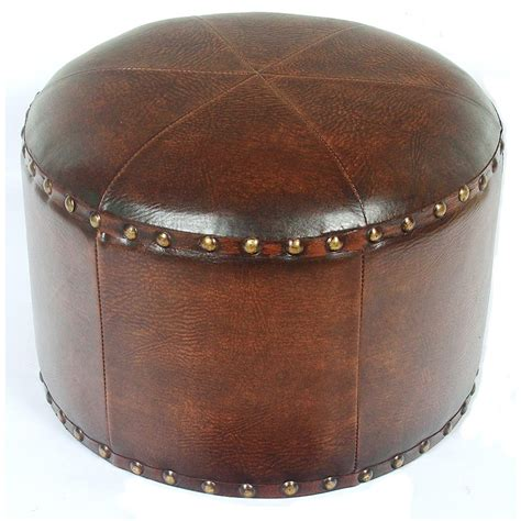 circular leather ottoman faux leather round ottoman in ottomans