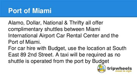Port Of Miami Rental Car car rental shuttles to cruise ports in florida