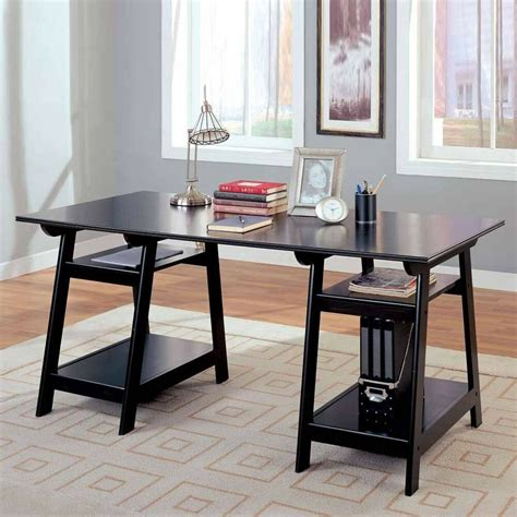 casual home office study large computer desk working area shelves black finish ebay