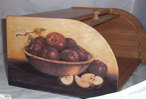 apple home decor apple bread box bamboo wood country home decor kitchen