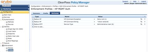 map policy enforcement hpe switch management authentication with clearpass airheads community