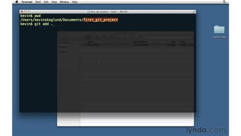 git video tutorial lynda performing your first commit