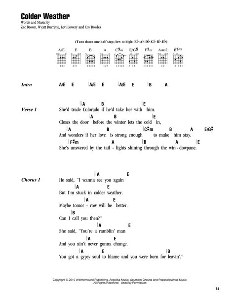 lyrics zac brown band colder weather sheet by zac brown band lyrics