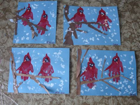 Winter Paper Crafts - clever handprint craft idea winter cardinals cut out a