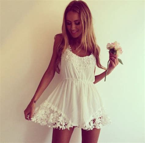 White Flower Crochet Dress dress jumpsuit romper white crochet summer