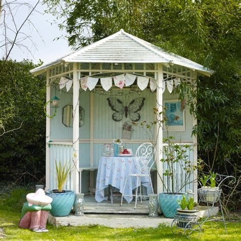 summer home decor ideas pale blue garden summerhouse contemporary country