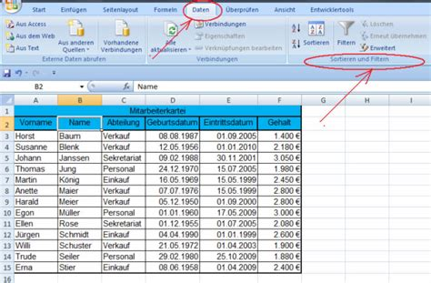 excel tabelle sortieren excel daten sortieren