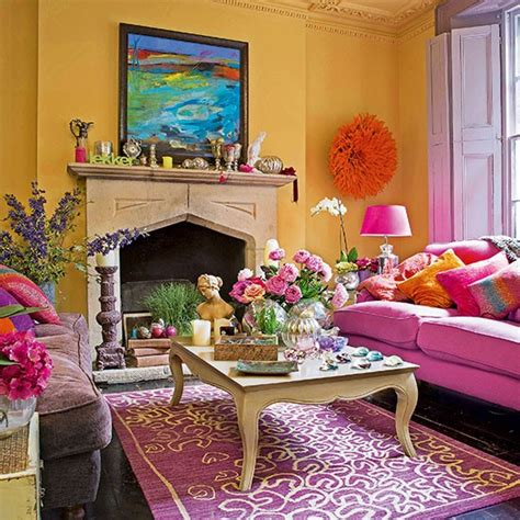 bright yellow and pink living room decorating
