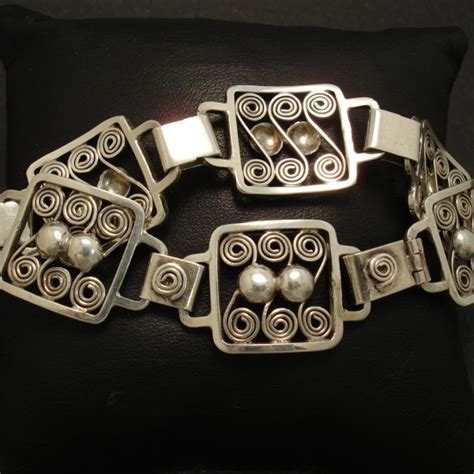 Handcrafted Silver Jewellery Australia - handcrafted swedish silver bracelet 1950s christopher