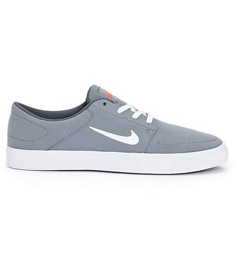 Nike Sb Portmore Canvas Cool Grey White nike sb portmore cool grey white orange skate shoes zumiez