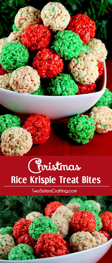 christmas snacks rice krispie treat bites two