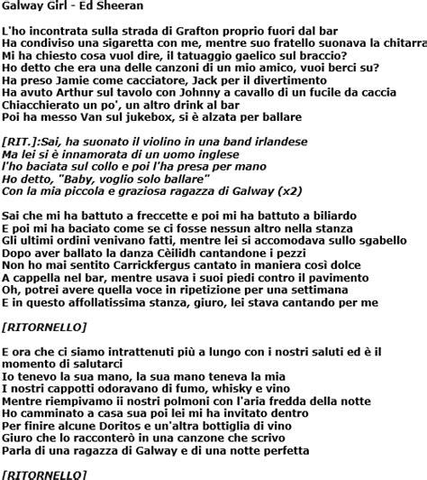 ed sheeran perfect italiano galway girl di ed sheeran traduzione testo e video del