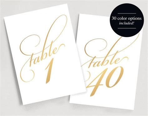 printable table numbers instant download 1 40 gold table