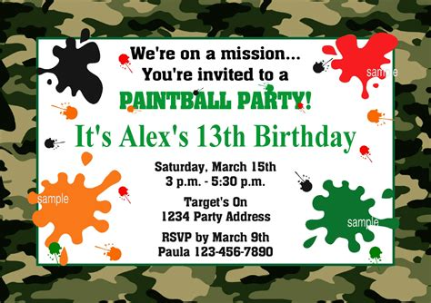 printable birthday invitations paintball 40th birthday ideas free printable paintball birthday