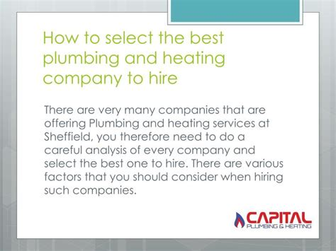 The Plumbing And Heating Company ppt why plumbing and heating services is important to