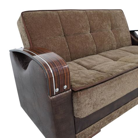 wooden armrest for sofa 55 off na brown futon love seat with wooden armrest sofas