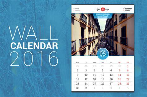 Wall Calendar Template Indesign Wall Calendar 2016 Stationery Templates On Creative Market