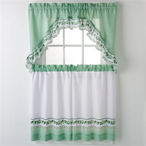 ivy curtains united curtain co ivy 3 piece valance and tier set