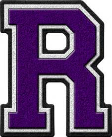 presentation alphabets purple varsity letter r