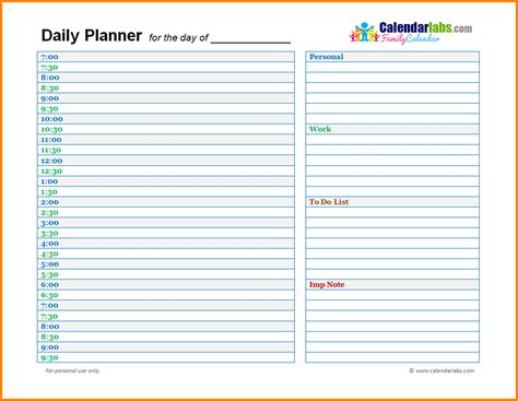 daily calendar printable word 10 daily planner template word enclosure format