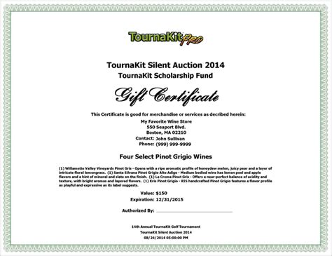 silent auction certificate template auction item gift certificate template