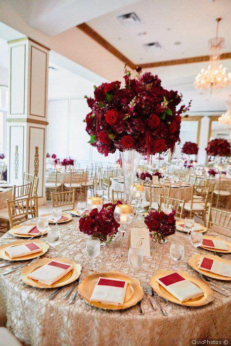 Burgundy wedding centerpiece idea   tall burgundy   red