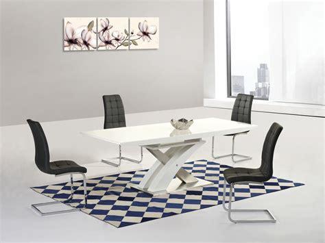 modern white high gloss glass extending dining table