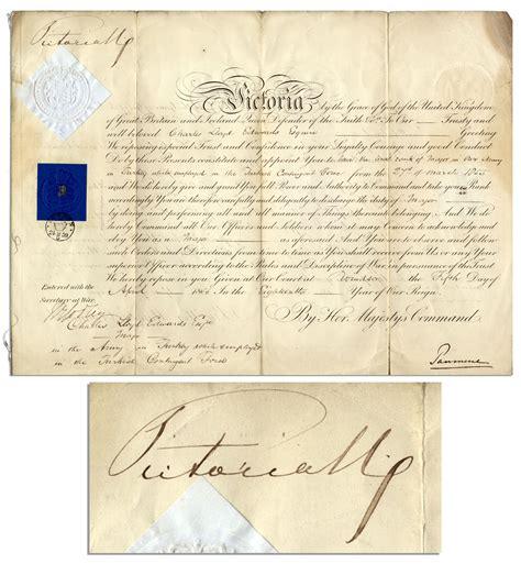 queen victoria signature lot detail queen victoria 1855 document signed army