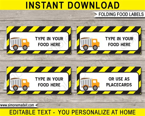 construction themed birthday card template free printable construction food labels top label