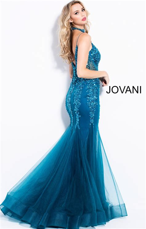 jovani  shimmering mermaid dress   choker prom