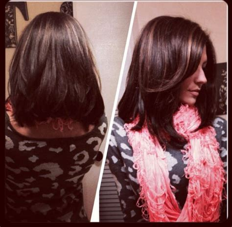 Pictures Of Long Angled Bobs For Thick Hair | long angled bob for thick hair brunette with caramel